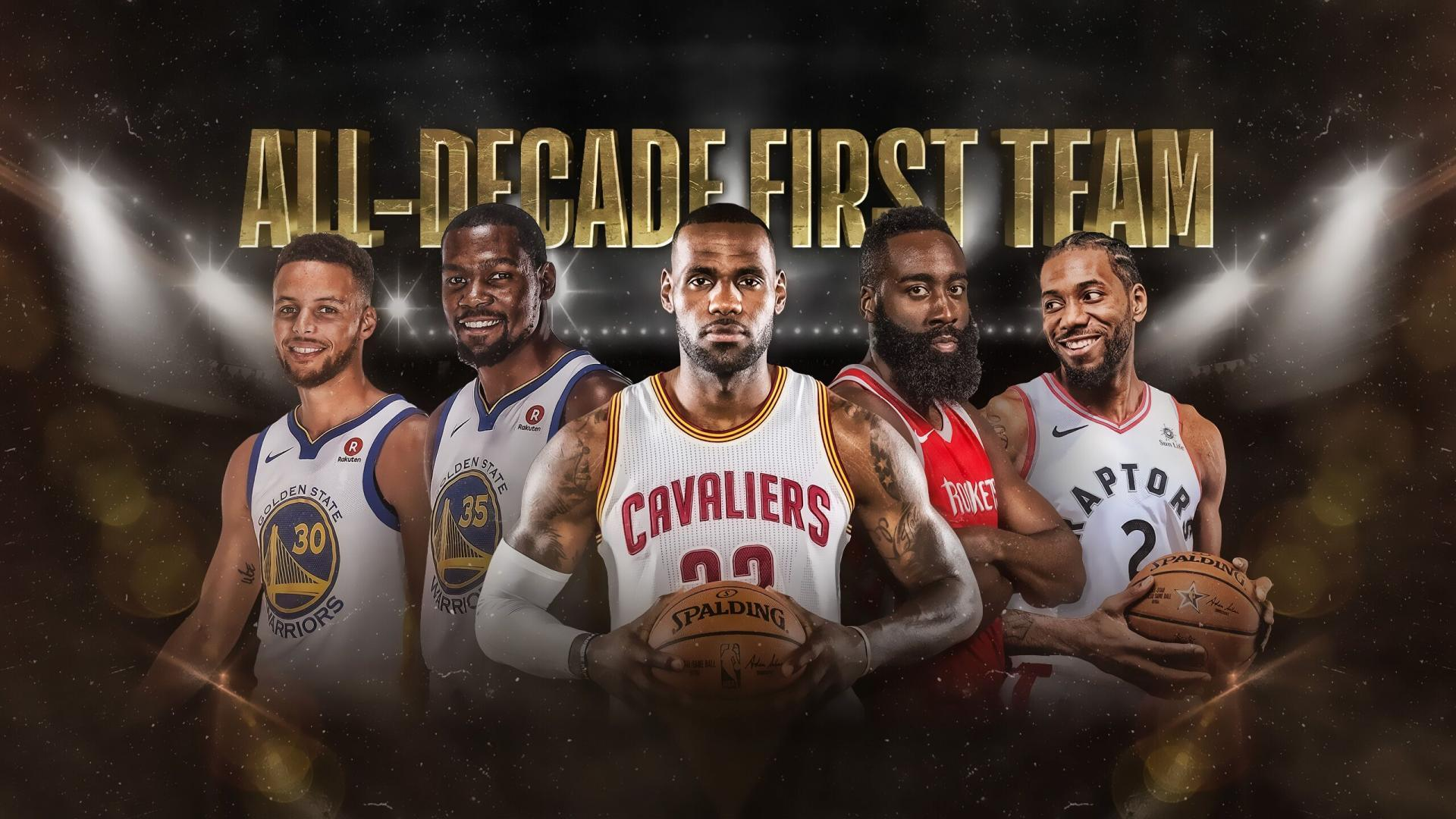 La NBA All-Decade First Team : Stephen Curry, Kevin Durant, LeBron James, James Harden, Kawhi Leonard. (Illustration : NBA)