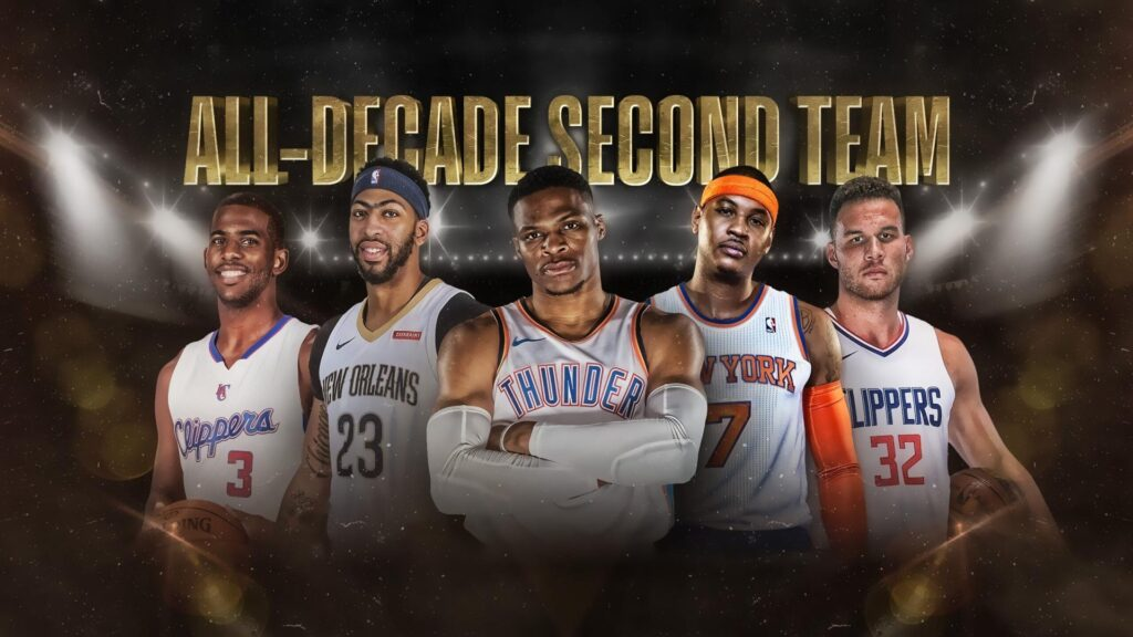La All-Decade Second Team : Chris Paul, Anthony Davis, Russell Westbrook, Carmelo Anthony, Blake Griffin. L'Analyste via NBA.