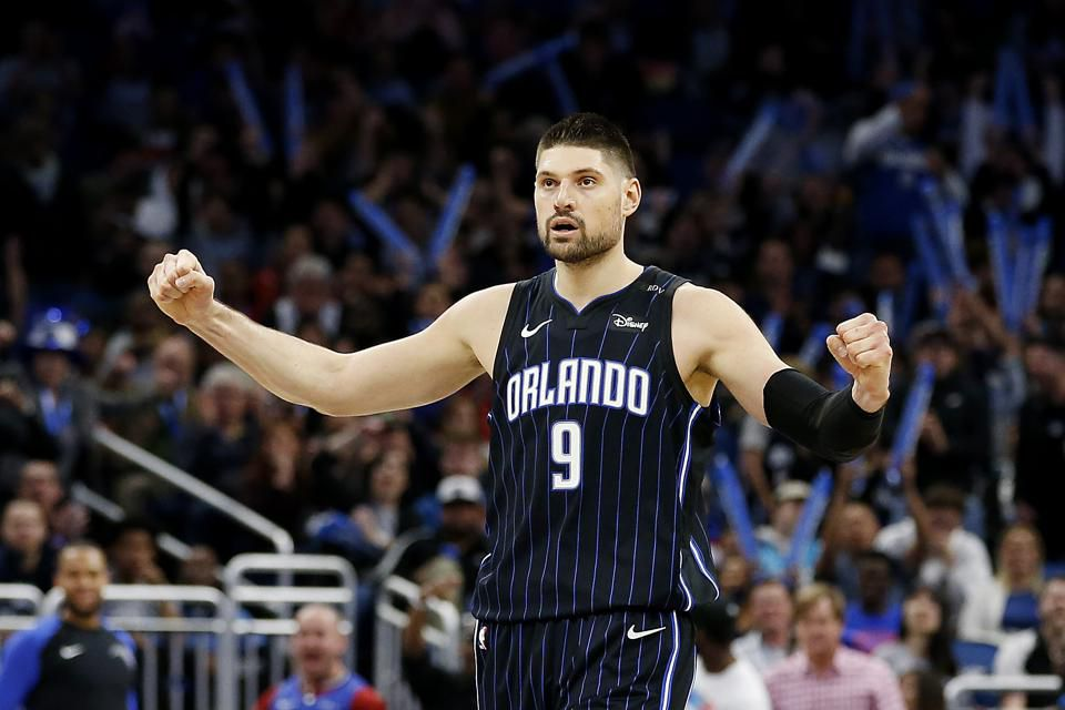 Nikola Vucevic of the Orlando Magic on January 29. (Photo by Michael Reaves/Getty Images) L'Analyste via NBA