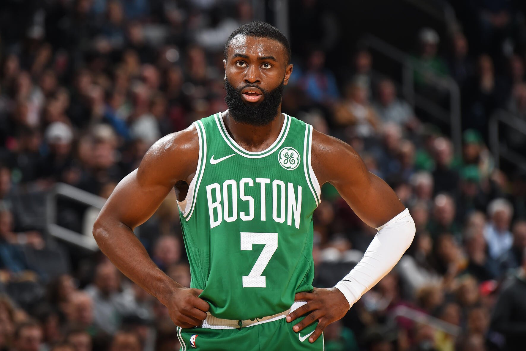 BOSTON, MA - OCTOBER 25: Jaylen Brown #7 of the Boston Celtics looks on during a game against the Toronto Raptors on October 25, 2019 at the TD Garden in Boston, Massachusetts.