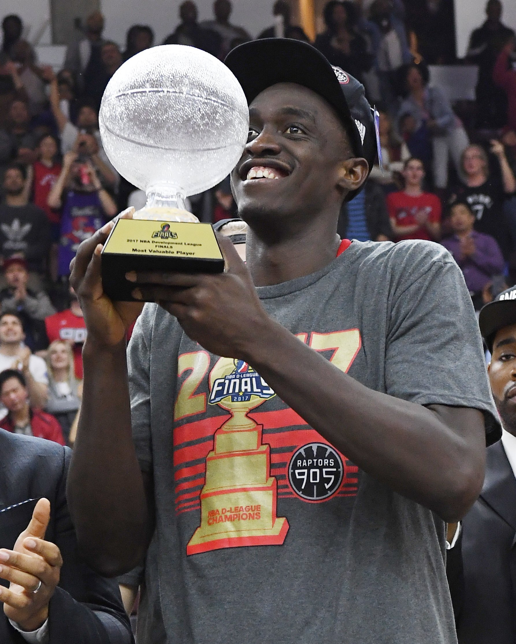 MISSISSAUGA, CANADA - APRIL 27:  Pascal Siakam #43 of the Raptors 905 holds the MVP trophy after they defeated the Rio Grande Valley Vipers in Game Three of the D-League Finals to win the championship at the Hershey Centre on April 27, 2017 in Mississauga, Ontario, Canada. NOTE TO USER: User expressly acknowledges and agrees that, by downloading and/or using this photograph, user is consenting to the terms and conditions of the Getty Images License Agreement. Mandatory Copyright Notice: Copyright 2017 NBAE (Photo by Ron Turenne/NBAE via Getty Images)
