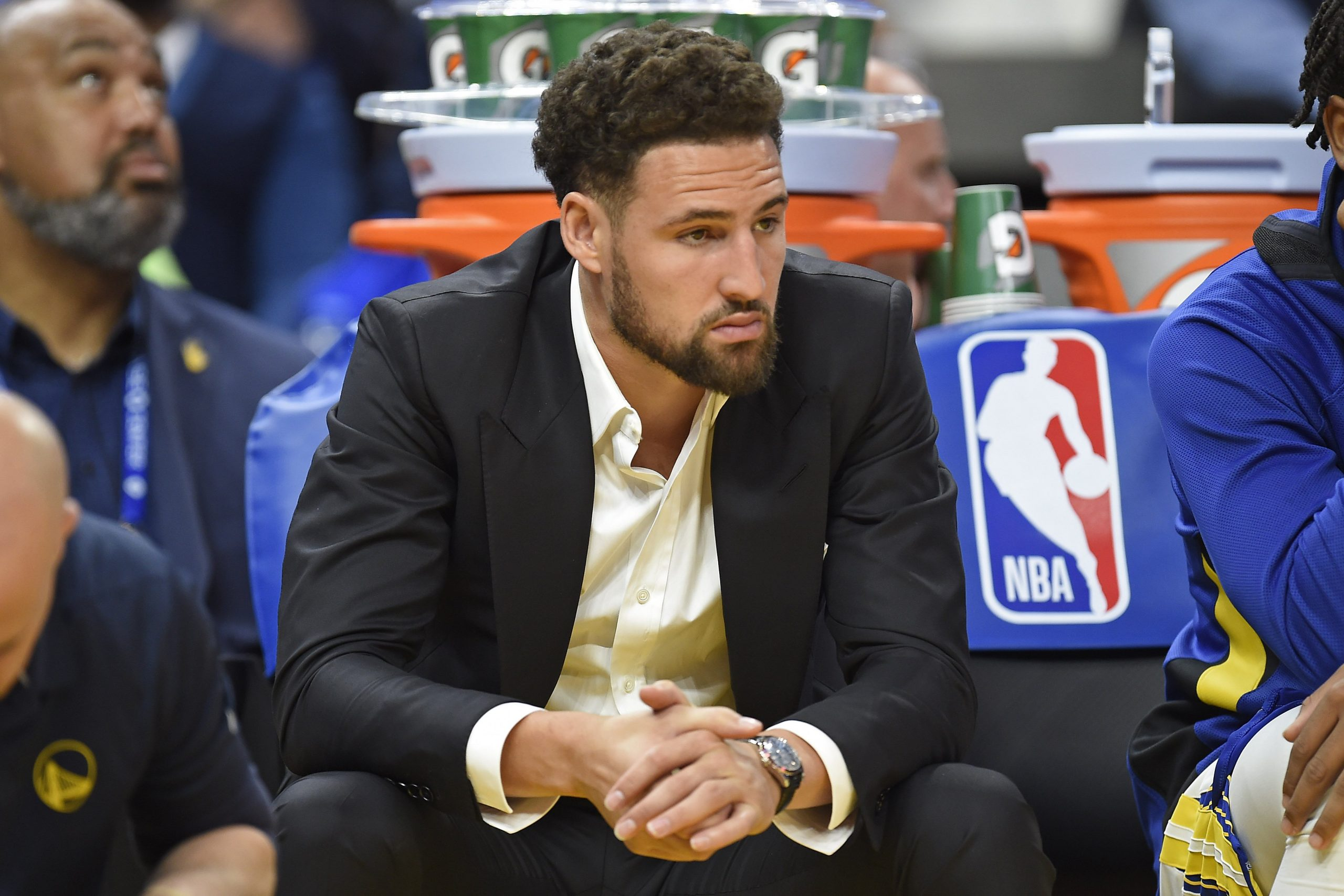 SAN FRANCISCO, CA -  OCTOBER 24: Golden State Warriors' Klay Thompson (11) sits on the bench as he watches his teammates play the Los Angeles Clippers in the third quarter of their NBA game at Chase Center in San Francisco, Calif., on Thursday, Oct. 24, 2019. (Jose Carlos Fajardo/Bay Area News Group)