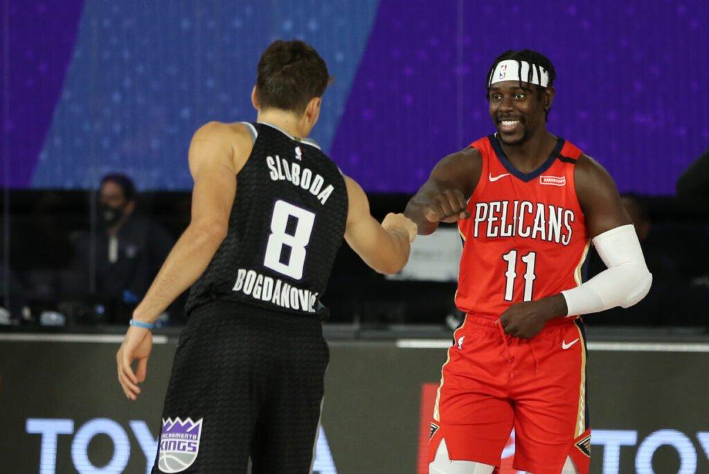Jrue Holiday (New Orleans Pelicans) et Bogdan Bogdanovic (Sacramento Kings) nouveaux arrivants aux Bucks. (Photo : David Sherman/NBAE via Getty Images)