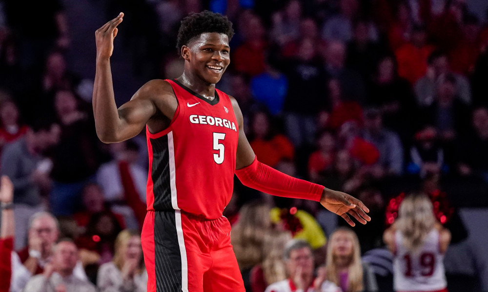 Feb 19, 2020; Athens, Georgia, USA; Georgia Bulldogs guard Anthony Edwards (5) reacts after making a three point shot against the Auburn Tigers during the second half at Stegeman Coliseum. Mandatory Credit: Dale Zanine-USA TODAY Sports