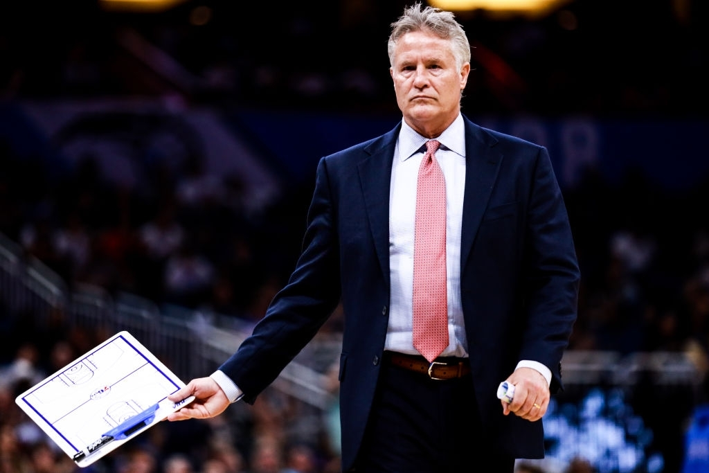 ORLANDO, FLORIDA - DECEMBER 27: Head coach Brett Brown of the Philadelphia 76ers in the second half against the Orlando Magic at Amway Center on December 27, 2019 in Orlando, Florida. NOTE TO USER: User expressly acknowledges and agrees that, by downloading and/or using this photograph, user is consenting to the terms and conditions of the Getty Images License Agreement. (Photo by Harry Aaron/Getty Images)