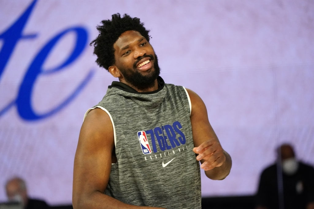 ORLANDO, FL - AUGUST 23: Joel Embiid #21 of the Philadelphia 76ers warms up prior to a game against the Boston Celtics during Round One, Game Three of the NBA Playoffs on August 23, 2020 at the The Field House at ESPN Wide World Of Sports Complex in Orlando, Florida. NOTE TO USER: User expressly acknowledges and agrees that, by downloading and/or using this Photograph, user is consenting to the terms and conditions of the Getty Images License Agreement. Mandatory Copyright Notice: Copyright 2020 NBAE (Photo by Jesse D. Garrabrant/NBAE via Getty Images)
