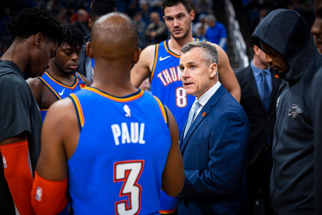ORLANDO, FL - JANUARY 22: The Oklahoma City Thunder huddles up during the game against the Orlando Magic on January 22, 2020 at Amway Center in Orlando, Florida. NOTE TO USER: User expressly acknowledges and agrees that, by downloading and or using this photograph, User is consenting to the terms and conditions of the Getty Images License Agreement. Mandatory Copyright Notice: Copyright 2020 NBAE (Photo by Zach Beeker/NBAE via Getty Images)