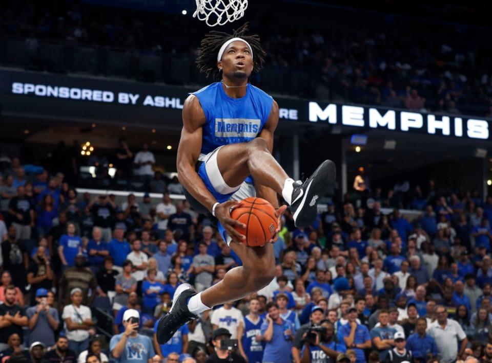 Memphis Tiger Precious Achiuwa attempts a dunk during Memphis Madness at FedExForum Thursday, Oct. 3. (Mark Weber/Daily Memphian)