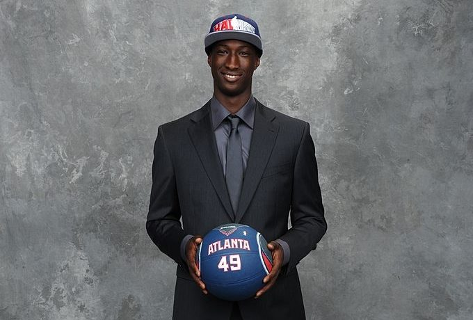 NEW YORK - JUNE 24:  Pape Sy, selected number fifty three  by the Atlanta Hawks poses for a portrait during the 2010 NBA Draft at The WaMu Theatre at Madison Square Garden on June 24, 2010  in New York City. NOTE TO USER: User expressly acknowledges and agrees that, by downloading and or using this photograph, User is consenting to the terms and conditions of the Getty Images License Agreement. Mandatory Copyright Notice: Copyright 2010 NBAE (Photo by Jennifer Pottheiser/NBAE via Getty Images)