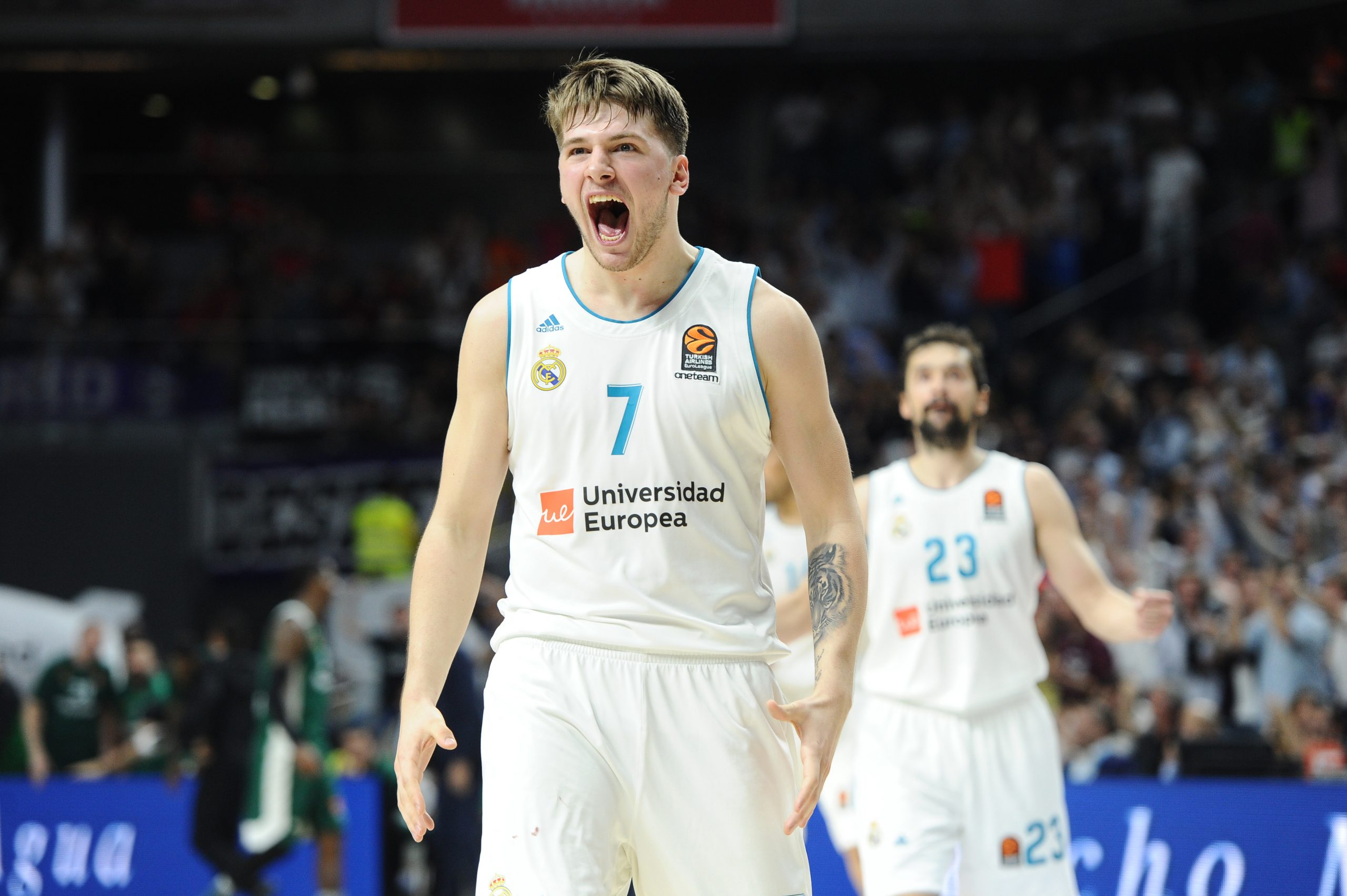 MADRID, SPAIN - APRIL 27: Luka Doncic, #7 guard of Real Madrid during the 2017/2018 Turkish Airlines Euroleague Play Off Leg Four between Real Madrid v Panathinaikos Superfoods Athens at WiZink Center on April 27, 2018 in Madrid, Spain. (Photo by Sonia Canada/Getty Images)