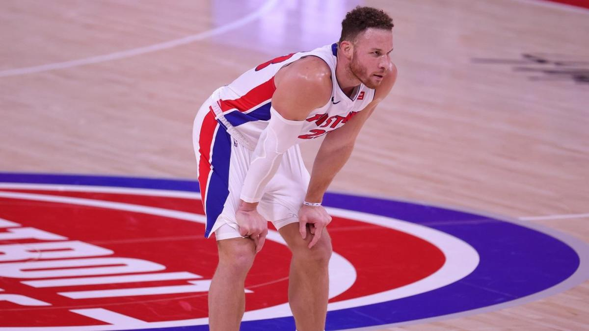 DETROIT, MICHIGAN - JANUARY 13: Blake Griffin #23 of the Detroit Pistons looks to the bench during a time out in the fourth quarter of the game against the Milwaukee Bucks at Little Caesars Arena on January 13, 2021 in Detroit, Michigan. Milwaukee Bucks defeated Detroit Pistons 110-101. NOTE TO USER: User expressly acknowledges and agrees that, by downloading and or using this photograph, User is consenting to the terms and conditions of the Getty Images License Agreement. (Photo by Leon Halip/Getty Images)